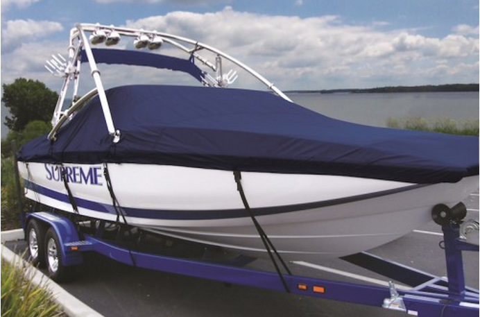 Boat and custom boat cover