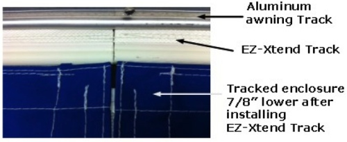 EZ-Xtend Boat Track: after installation, the boat enclosure sits 7/8 of an inch lower, solving the problem
