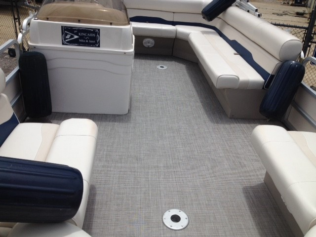 Pontoon boat with flooring