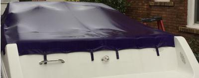 boat cover while raining stern